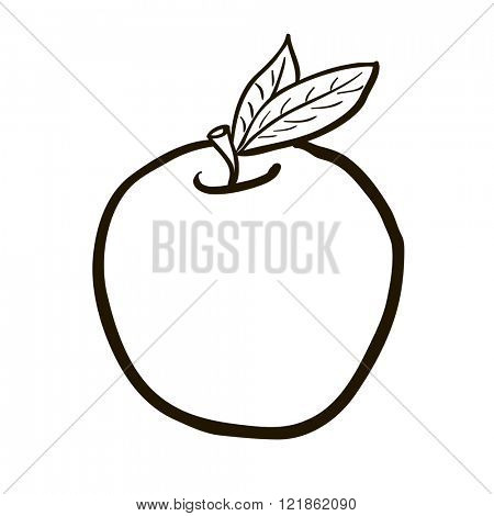 simple black and white freehand drawn cartoon apple