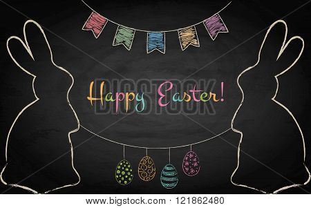 Easter Background With Rabbits On Chalkboard