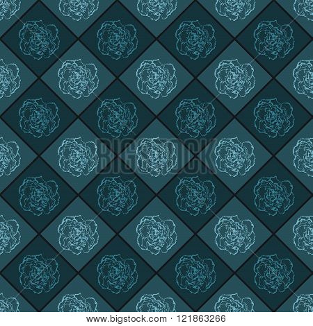 Dark Blue Vector Seamless Chess Styled Vintage Texture With Clove Flower. Vector Illustration