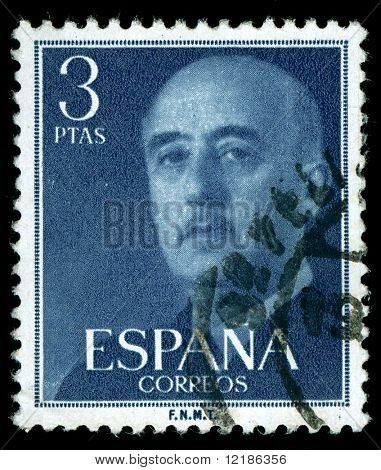 vintage stamp depicting the dictator General Francisco Franco of Spain who came to power after the Spanish civil war