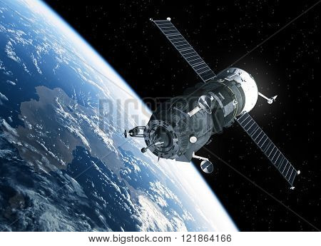 Cargo Spacecraft Orbiting Earth