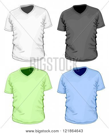 Men's short sleeve v-neck t-shirt. Vector illustration. No mesh.