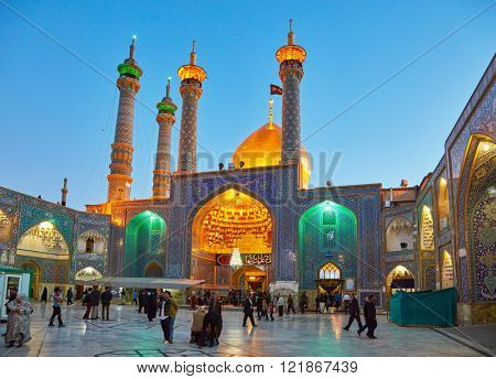 QOM, IRAN - March 08, 2016: Shrine of Fatima Almasomh in Qom, Iran