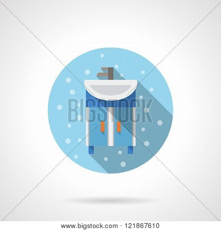 Bathroom washstand round flat color vector icon