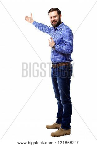 Happy business man presenting and showing with copy space for your text isolated on white