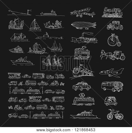 Big set with different transport. Passenger transport. Traffic. Retro transport. Set with boats.  Is