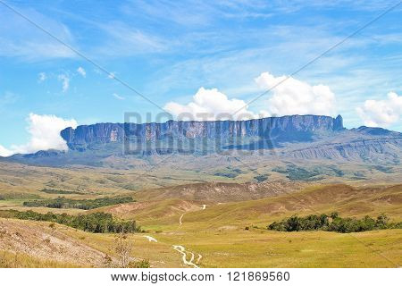 Track To Mount Roraima -The tepuy at the front. Venezuela, South America