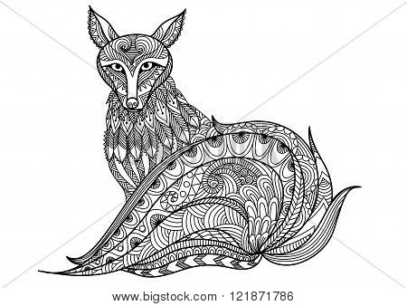 Red Fox line are design for tattoo, t shirt design, coloring book for adult and so on - stock vector