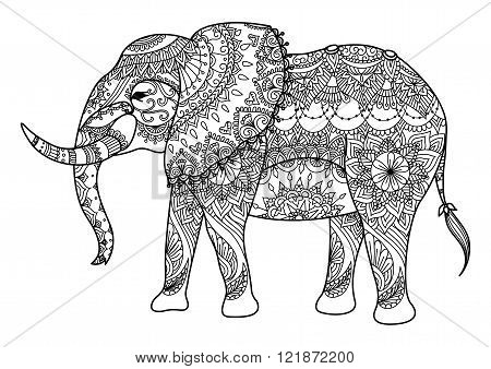 Mandala elephant line art design for card,tattoo, t shirt design and coloring book for adult
