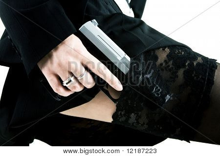 A woman with a pistol in her stocking