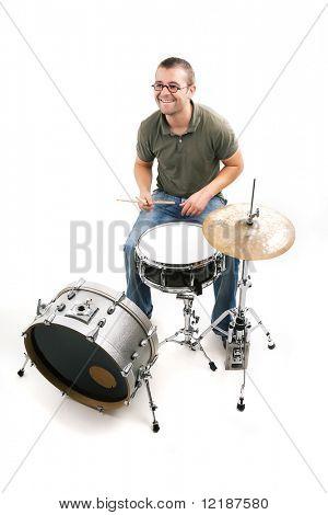 The drummer having fun playing his drum kit