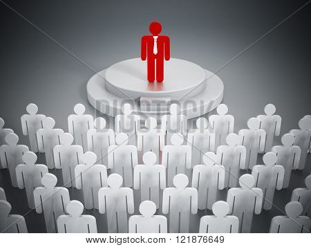 Audience listening to speaking man isolated on white background