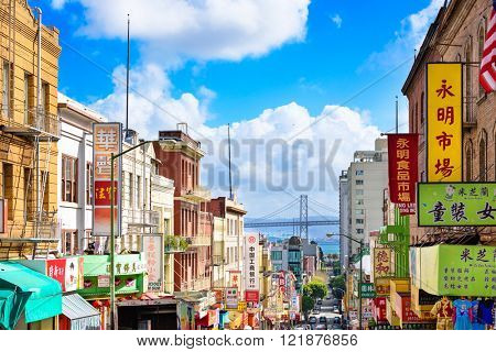 SAN FRANCISCO, CALIFORNIA: MARCH 6, 2016: Chinatown district of San Francisco towards the Bay Bridge.
