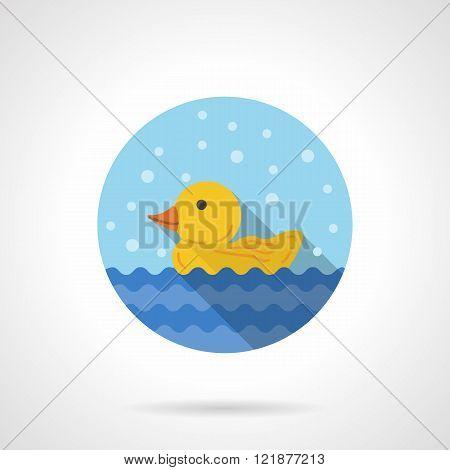 Duckling round flat color vector icon