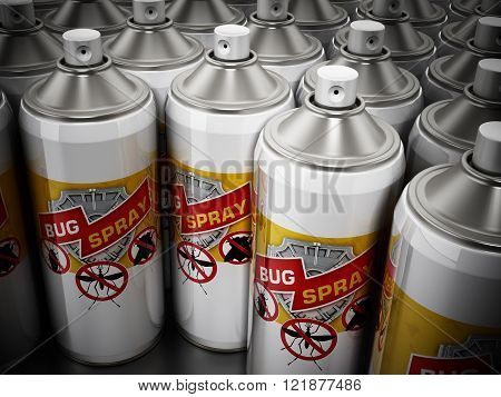 Multiple white bug spray stack with vignette