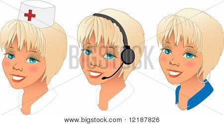 Profession women avatars set