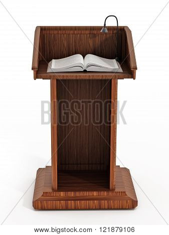Lectern with open pages isolated on white background