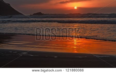 Seascape of Atlantic Ocean. Sunset in Morocco