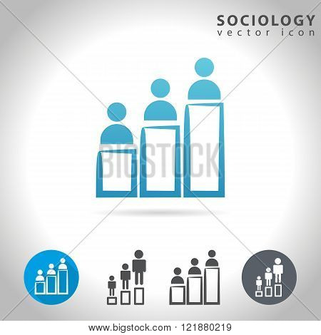 Sociology icon set collection of human figure charts vector illustration