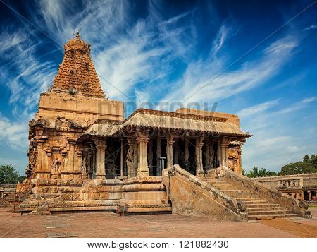 Famous tourist landmark and piligrimage site of Tamil Nadu -   Brihadishwara (Brihadishwarar) Temple. Tanjore (Thanjavur), Tamil Nadu, India