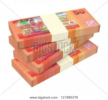 Fijian dollar bills isolated on white background. Computer generated 3D photo rendering.
