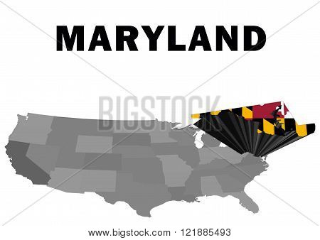 Outline map of the United States with the state of Maryland raised and highlighted with the state flag