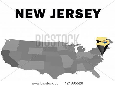 Outline map of the United States with the state of New Jersey raised and highlighted with the state flag