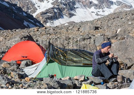 Female Climber Eating Ascetic Breakfast