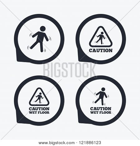Caution wet floor icons. Human falling signs.