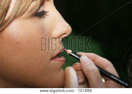 Bride Doing Make-up Before Her Wedding