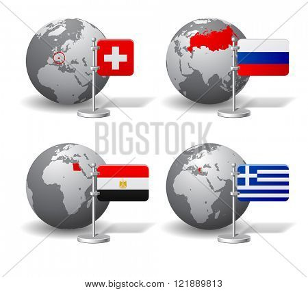 Gray Earth globes with designation of Switzerland, Russia, Egypt and Greece location, with state flags. Vector illustration