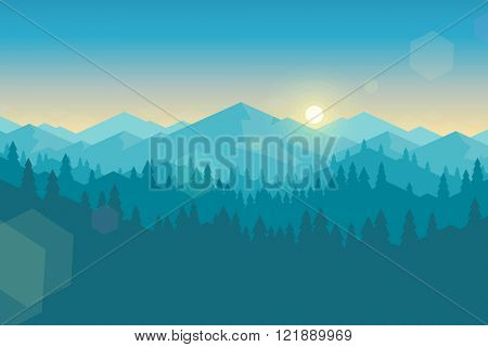 Vector mountains and forest landscape early in the morning. Beautiful geometric illustration.