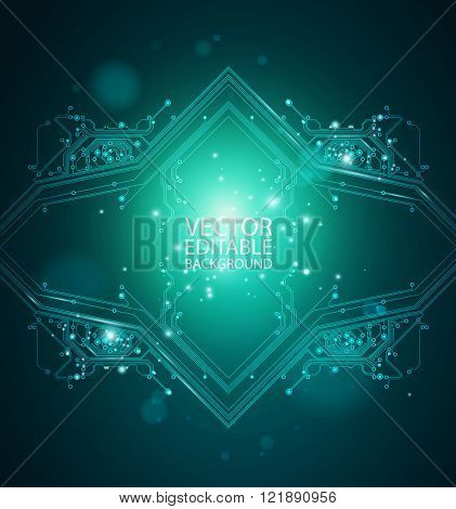 abstract shiny background - dark green color - vector