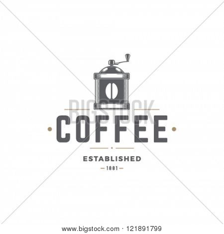 Coffee Mill Vector Illustration. Grinder Silhouette Isolated On White Background. Vector object for Labels, Badges, Logos Design. Coffee Logo, Mill Logo, Grinder Symbol, Retro Logo, Grinder Icon.