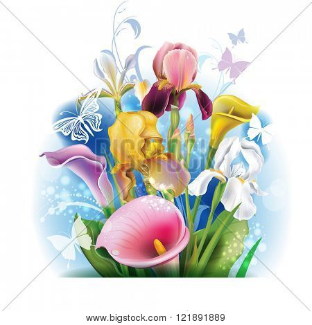 Bouquet of Calla lilies and irises