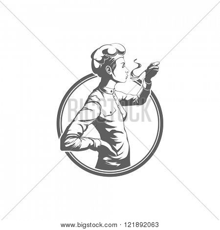 Chef Woman Testing Food Logo Vector Illustration. Chef Silhouette Isolated On White Background. Vector object for Labels and Badges, Logos Design. Restaurant Logo, Chef Logo, Hat Symbol.