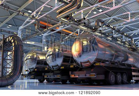 Trucks with fuel in the hangar.