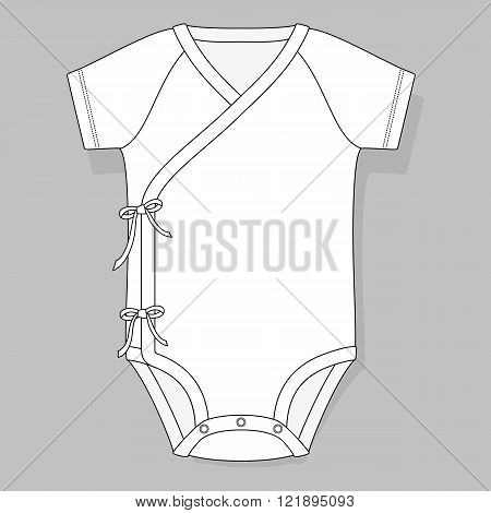 baby bodysuit crossover raglan flat sketch template isolated on grey background