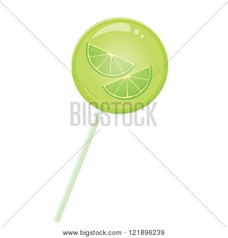 Green yellow lollypop candy with lemon slice