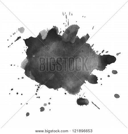 Expressive watercolor monochrome black and white spot blotch with splashes