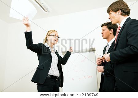 Business woman in a defensive position