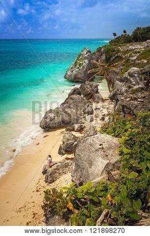 Idyllic Caribbean beach at the Mayan ruins temple of Tulum, Mexico