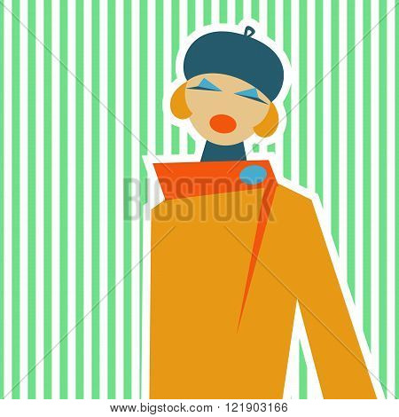 Woman made in a retro style of 60-ies on a soft spring background. Flat design. Great for background brochure booklet book banner or other decor. Vector illustration. Easy to edit