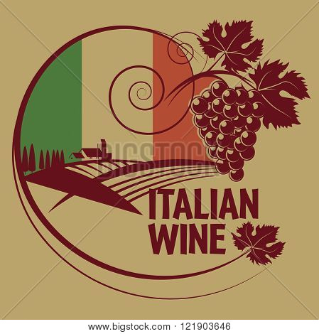 Grunge rubber stamp or label with words Italian Wine, vector illustration