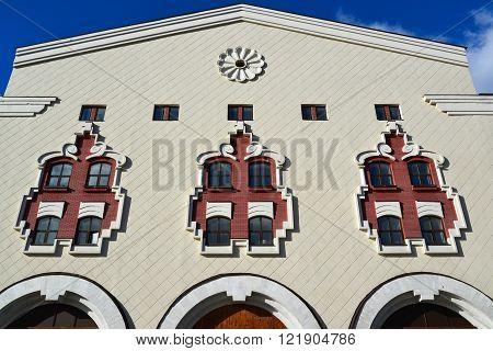 A Detail of the facade Kazansky railway station from  street Novoruzanskaya