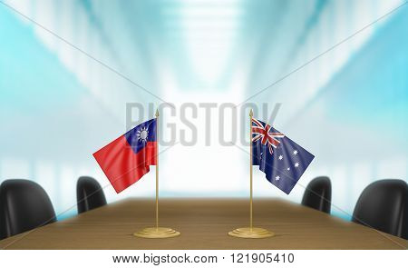 Taiwan and Australia relations and trade deal talks 3D rendering