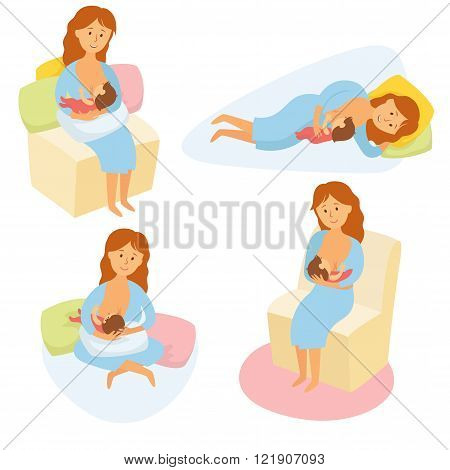 Breastfeeding position. Mother feeds baby with breast. Comfortable pose for feeding child. Mom lactation infant milk. Motherhood and childhood. Woman breastfeed baby in different poses. Cartoon vector poster