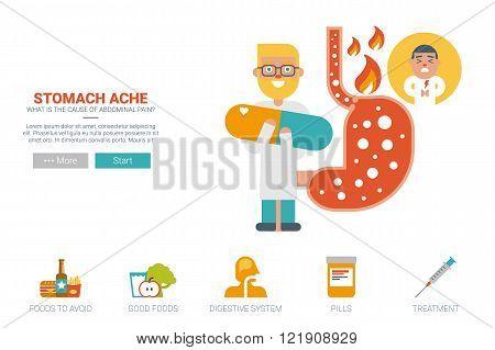 Stomache ache health concept flat design for landing page website or magazine illustration print poster