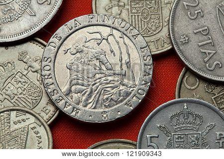 Coins of Spain. Spanish commemorative 200 peseta coin (1996) dedicated to Spanish Neoclassicist painter Ramon Bayeu.