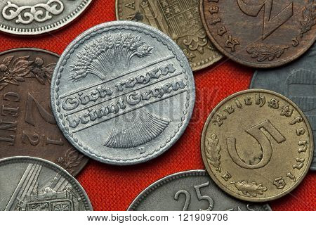 Coins of the Weimar Republic. German 50 Reichspfennig coin (1921). poster